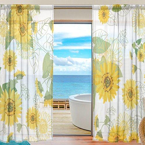 U LIFE Small Yellow Sunflowers Floral Patchwork Rod Pocket Sheer Voile Window Curtain Curtains 55 inch Wide x 84 inch Long Per Panel, Set of 2 Panels