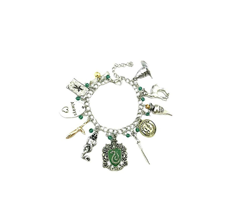 Athena Brand Harry Potter Movie Series Hero Deathly Hollows House Crest Theme Logo Charm Jewelry Bracelet w/Gift Box by