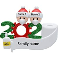 MAXORA 2020 Covid Quarantine Personalized Ornaments Survivor Family of 2 with Face Masks Hand Sanitized Christmas…