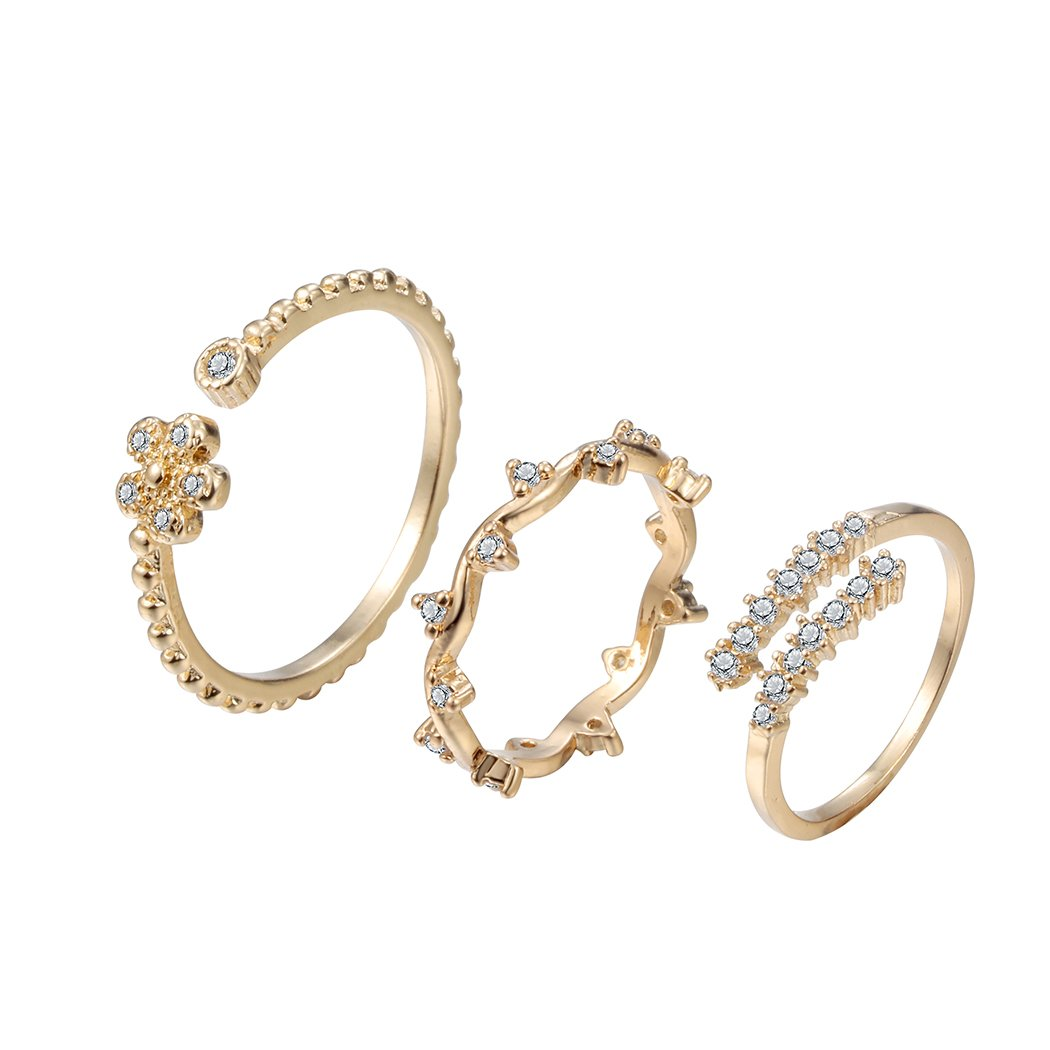 chengxun Gold Flower Plain Band Knuckle Stacking Midi Rings CZ Engraved Open Adjustable Finger Toe Rings 3PCS M4A2052