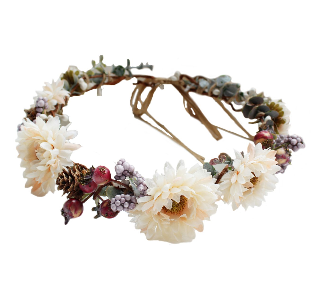 Vivivalue Boho Handmade Pinecone Flower Crown Wreath Halo Headband Floral Hair Garland Headpiece Festival Wedding Brown