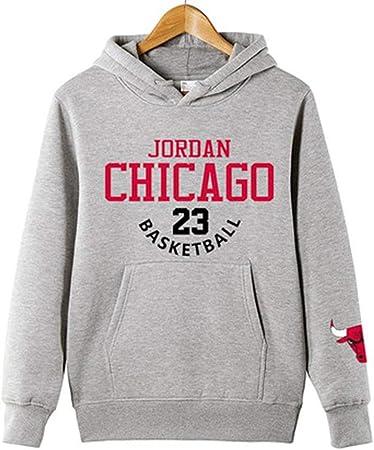 HS-QFQ 2019 El Nuevo Michael Jordan Los Toros De Chicago 23# Baloncesto Algodón Camisa De Entrenamiento Saco Además De Terciopelo Deportes De Otoño,Gris,S160~165CM: Amazon.es: Hogar