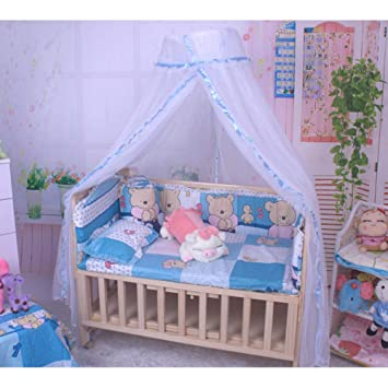 POEwjCCk Foldable Crib Netting Ship Shape Baby Bed Canopy Netting Cover for Baby Infant Travel Bed Mesh Tent Blue