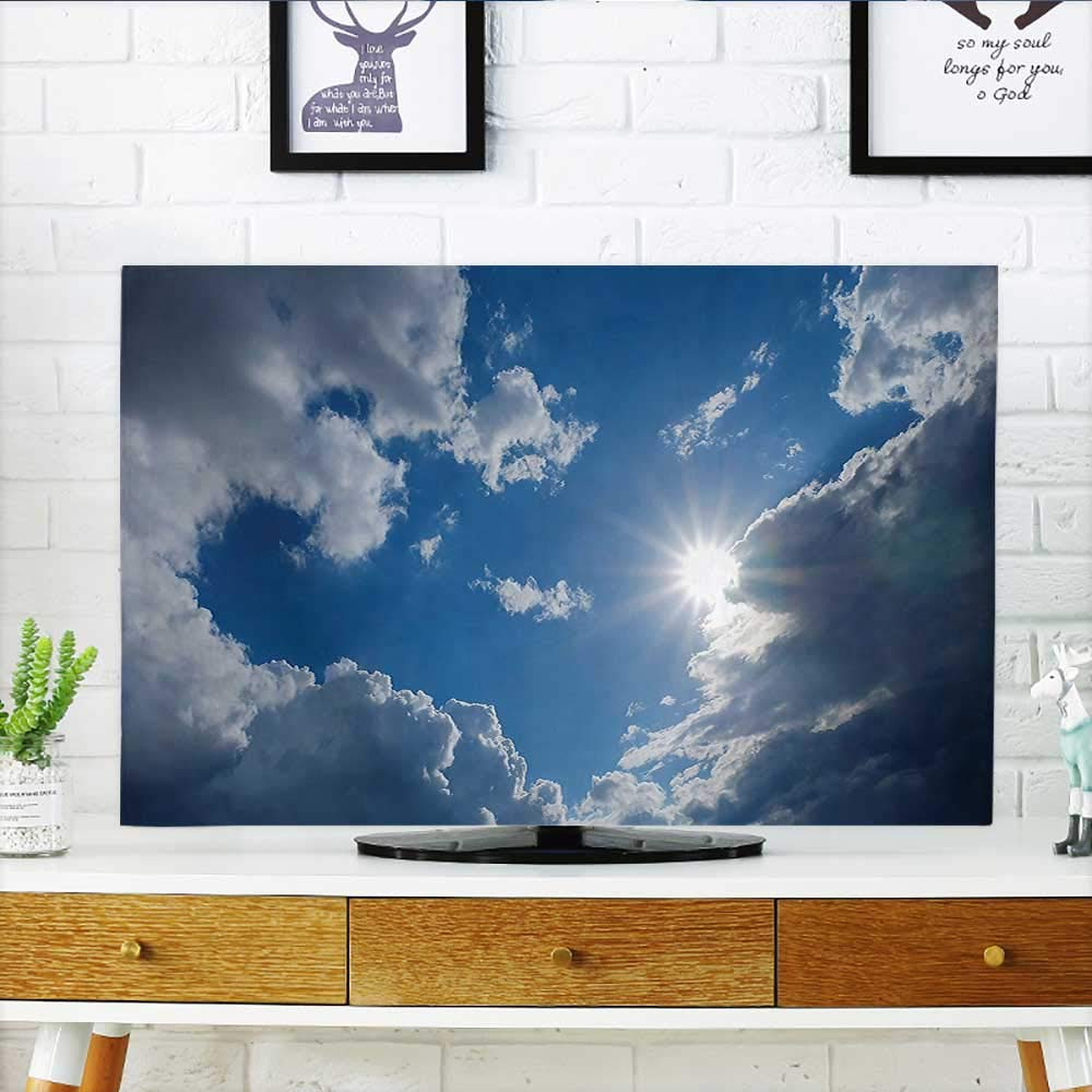 Auraisehome Front Flip Top Clear Weather Sky Sun On Sky with Clouds Solar of Clean Energy Power Front Flip Top W36 x H60 INCH/TV 65''