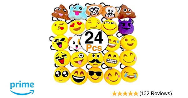 facb772718bb Amazon.com  OHill 24 Pack Emoji Plush Pillows Mini Keychain for ...