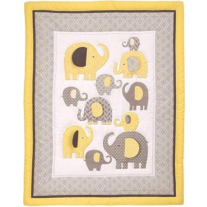 3 piezas amarillo gris bebé elefante para cuna juego de cama, recién ...