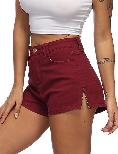 6ee1cd5c95 Zaoqee Women's High Waist Denim Shorts Zipper Side Casual Enhancing Summer  Hot Short Jeans
