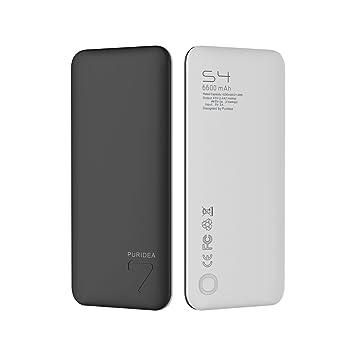 6600mAh Salida 2.4A Cargador port¨¢til, PURIDEA S4 Doble USB Bater¨ªa Externa (Bancos de bater¨ªas de Li-pol¨ªmero de entrada de 1.5 A) para Apple ...