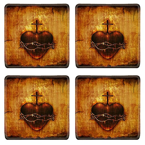 Liili Square Coasters The Sacred Heart of Jesus on parchment 3D render and digital painting Photo 12426488