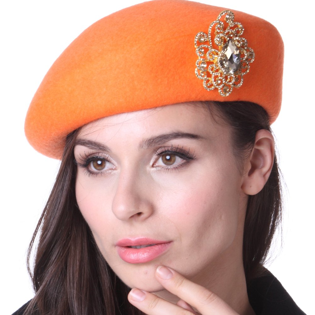 June's young western handmade woolen hat korean style beret hat top hat (orange)