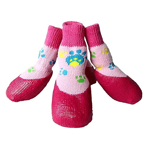 Calcetines Impermeables del Perro Desgaste Antideslizante pie Mascota Perro algodón cálido otoño e Invierno 4PCS Calcetines para Perros Calcetines de Lluvia ...