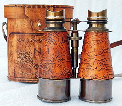 REPLICA WAREHOUSE  Antique-Brass-Binocular-Vintage-Leather-Telescope-Pirate-Spyglass-Binocular-Gift