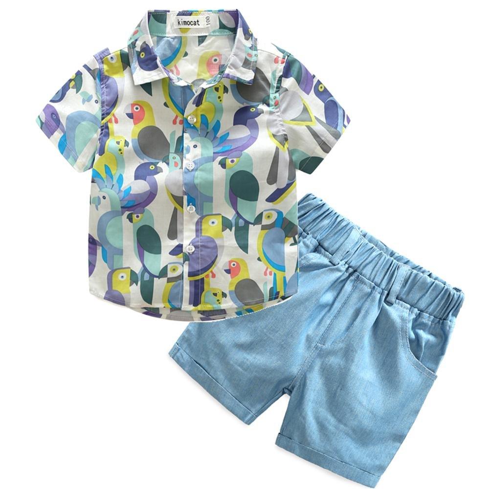 Kimocat Toddler Boys Casual Summer Cotton Plaid Shirts Short Pants Set