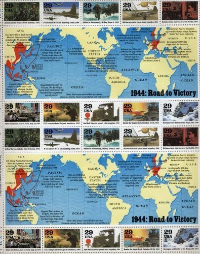 1944 WWII Road to Victory Sheet Collectible Stamp Sheet of 20 29 Cent Stamps Scott - Cent Map