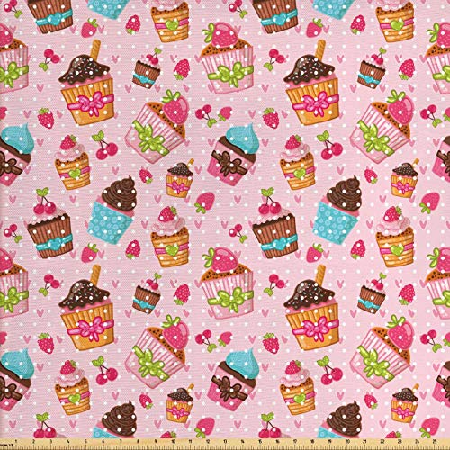 Ambesonne Pink Fabric by The Yard, Kitchen Cupcakes Muffins Strawberries and Cherries Food Eating Sweets Print, Decorative Fabric for Upholstery and Home Accents, 2 Yards, Pale Pink and Brown ()