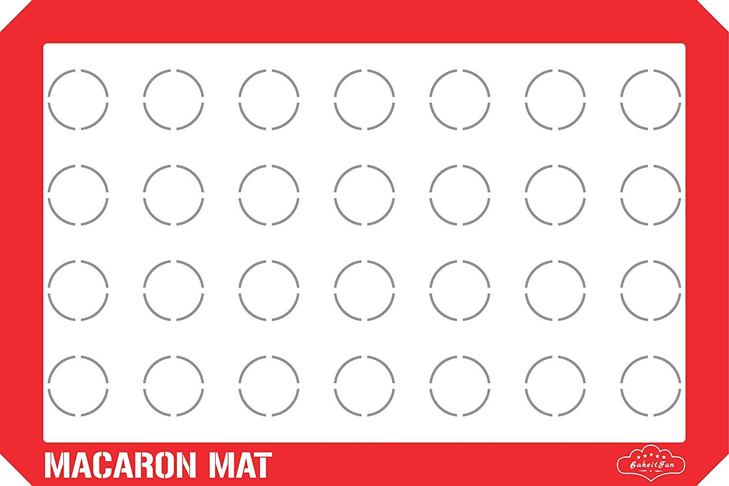 Baking Mat, Macaron Style, 16.5 x 11 5/8 inches, Red by BakeitFun