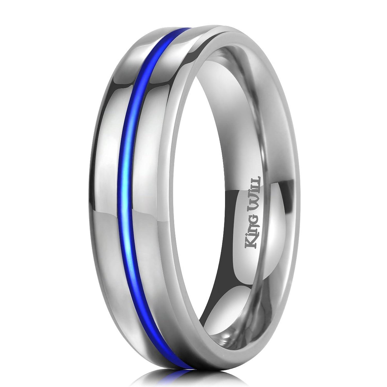 King Will LOOP Uni 6mm Thin Blue Line Titanium Ring High