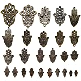 N'joy 26-Piece Mixed Hamsa Hands Steampunk Vintage Charms,16 Styles (H26B)