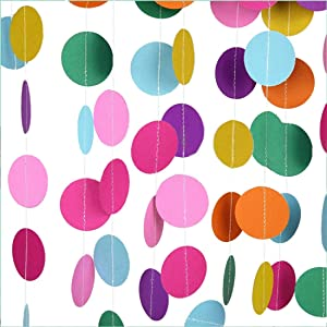 MerryNine Paper Garland, 5 Pack 66ft Colorful Paper Card Hanging Decor, Paper Banner for Baby Shower, Birthday, Nursery Party Decor (Colorful-66 Feet)
