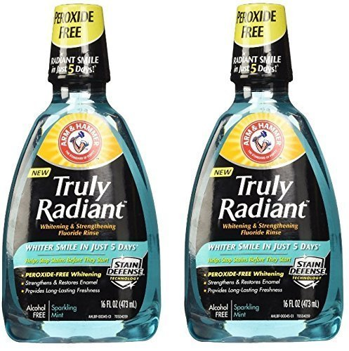 Arm & Hammer Truly Radiant Whitening & Strengthening Sparkling Mint Fluoride Rinse, 16 Fl Oz (Pack of 2)