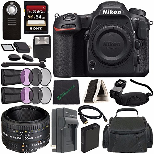 Nikon D500 DSLR Camera (Body Only) + Nikon AF NIKKOR 50mm f/1.8D Lens + Rechargable Li-Ion Battery + Home and Car External Charger + Sony 64GB SDXC Card + HDMI Cable + Remote + Flash Bundle? Review