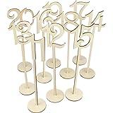 Tinksky 11-20 numeri della tabella matrimonio con supporto Base per matrimonio casa decorazione 10pcs (colore di legno)