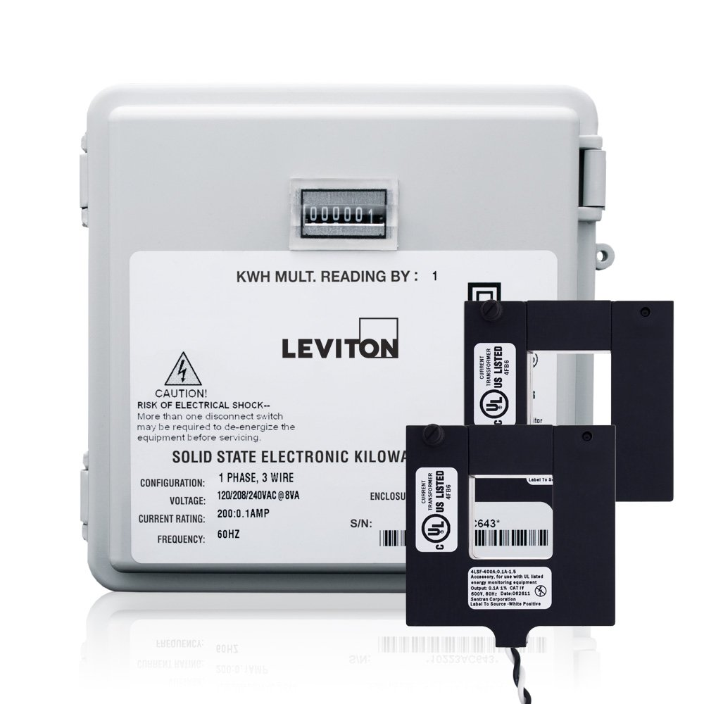 Leviton MO240-1W Outdoor Surface Mount Mechanical Counter 120/208/240V 2P3W 100A with 2 Split Core CTs Mini Meter Kit