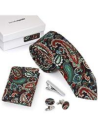 Bundle Monster 4pc Floral Design Matching Pattern Mens Suit Fashion Accessories - Multicolor Paisley