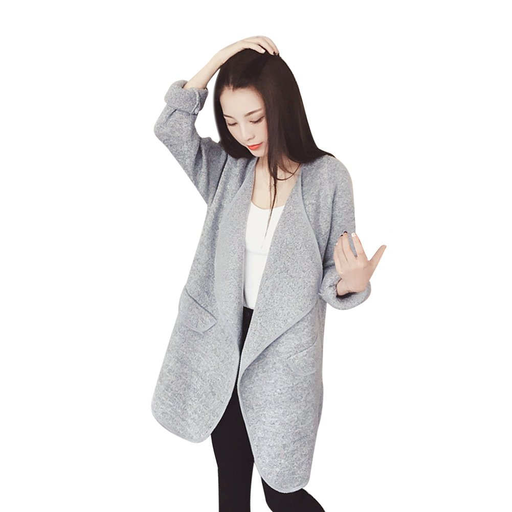 Fashion Story Women's Open Front Loose Trench Coat Outwear Waterfall Cardigan Sweater Gray