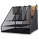 JIANGXIUQIN Magazine File Holder Organizer Grid Desktop Manager Three-Tier Metal Desk Bookshelf A4 File Basket File Information Office Folder Organizer