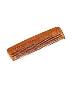 HealthAndYoga(TM) Handcrafted Neem Wood Comb - Non-Static and Eco-Friendly - Great for Scalp and Hair Health -7 inch Coarse-Fine Combo Toothed