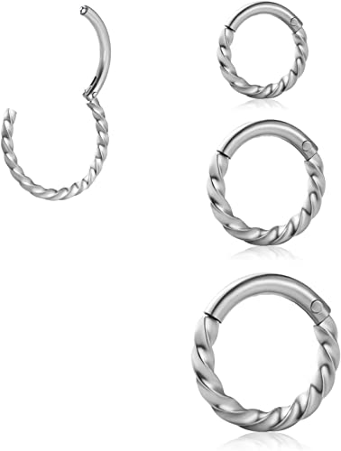 Amazon Com Senni Stainless Steel Thread Hinged Nose Rings Hoop
