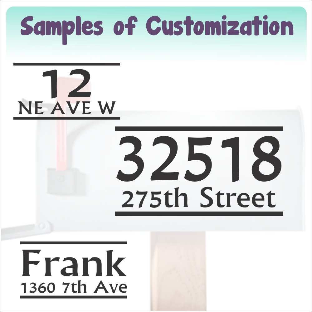 Personalized Vinyl Mailbox Decals Letters Custom Street Address Stickers, Set of 2 Jumbo by Wall Decor Plus More (Image #1)