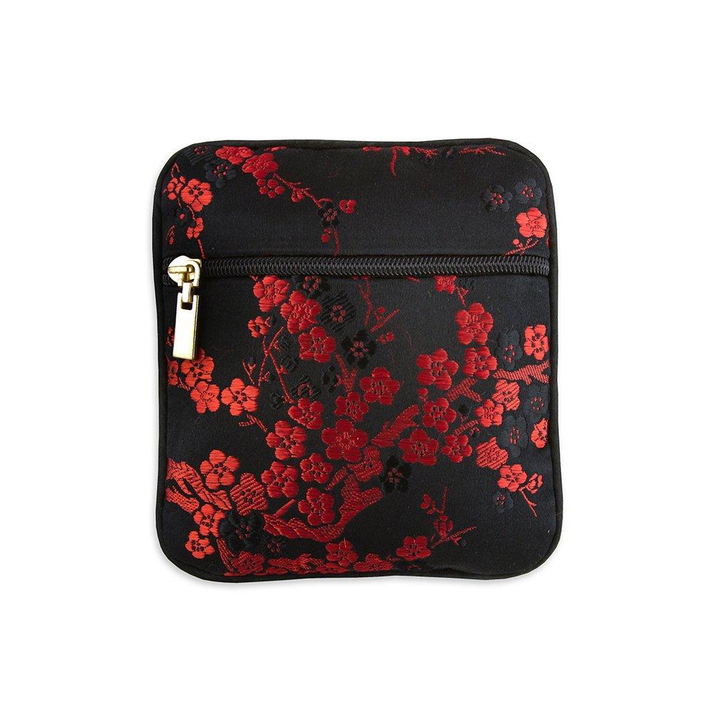 Coin Pouch - Silk Brocade (Cherry Blsm Black & Red)