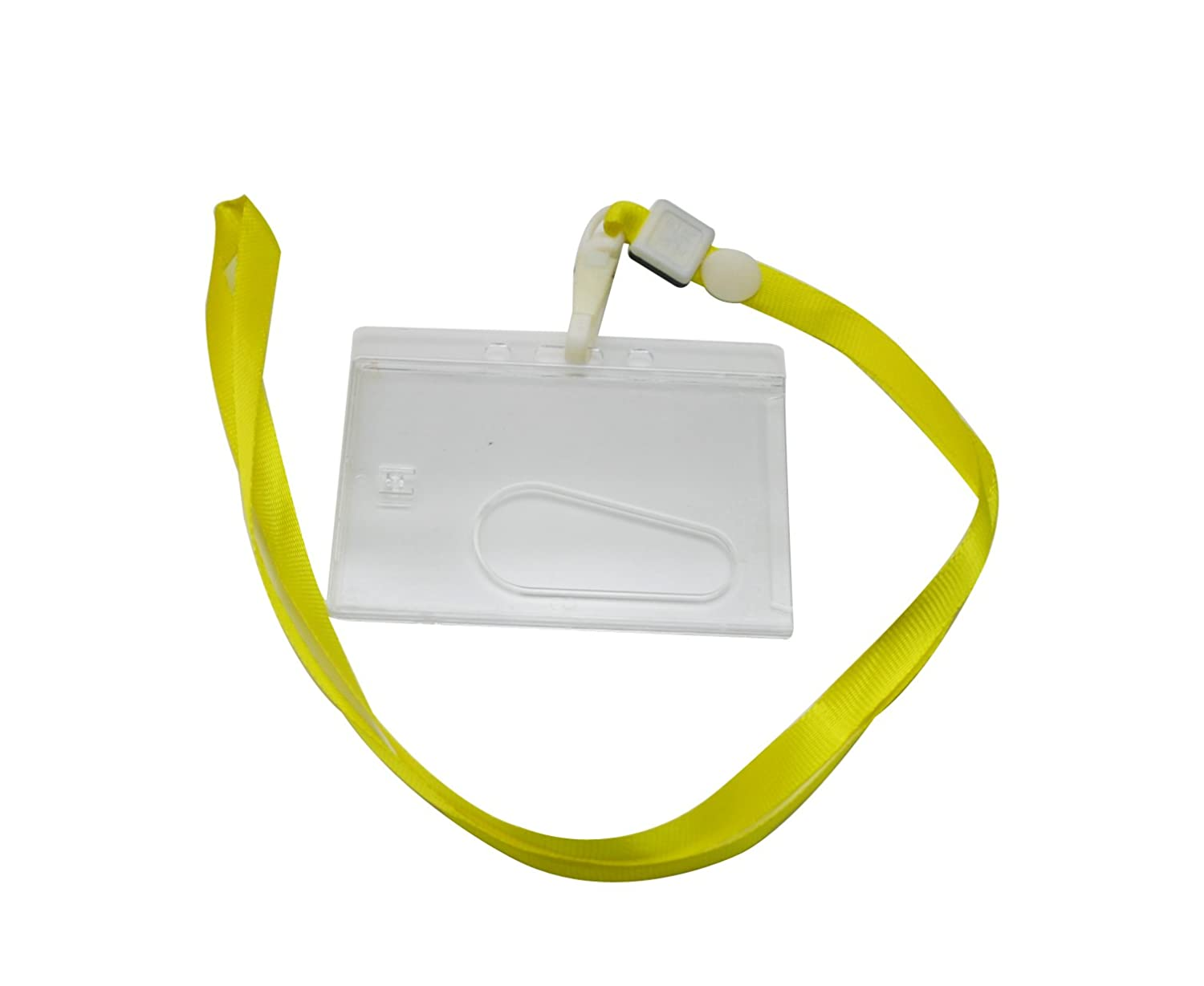 Yongshida Horizontal Card Holder Neck Strap Lanyard Color Yellow Clip Pack of 10