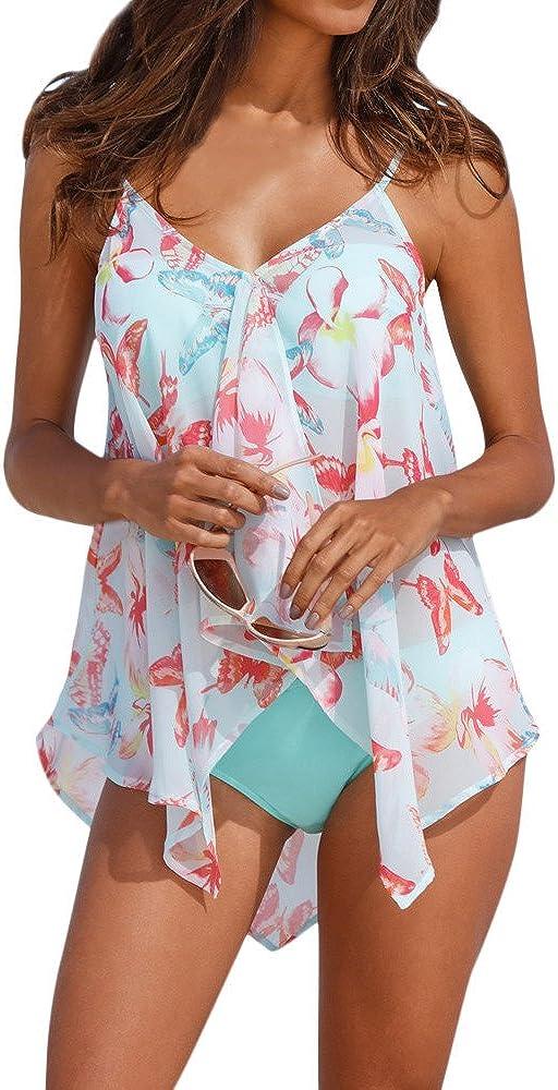 Auifor◕‿◕Trajes de baño 3PCS Tankini para Mujer Bikini Bottom Tallas de Malla en Capas Traje de baño