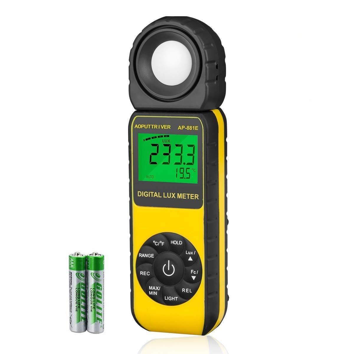 AP-881E Gama de Medidores LUX Digitales Hasta 300,000Lux, Medidor de Luz Digital Portátil Temperatura Ambiente ISO, ROHS, GMC Aprobado