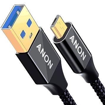 Cable Micro USB de Nailon Trenzado para Smartphones, tabletas y Otros Dispositivos con Conectores Micro USB 3M-Black Micro USB: Amazon.es: Electrónica