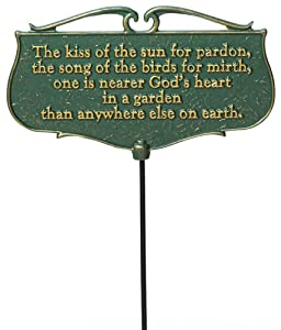 """Whitehall Products """"The Kiss of The Sun..."""" Garden Poem Sign, Green/Gold"""