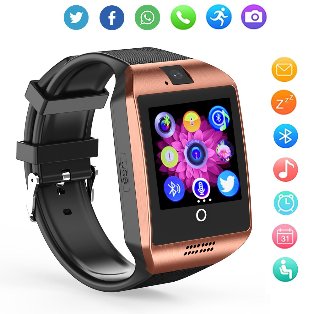 ZRSJ Bluetooth Smart Watch Q18 Touch Screen Smartwatches with Camera SIM/TF Card Slot, Sports Fitness Tracker Smartwatch for Android Smartphones iOS Samsung Motorola Men Women Kids (Gold)