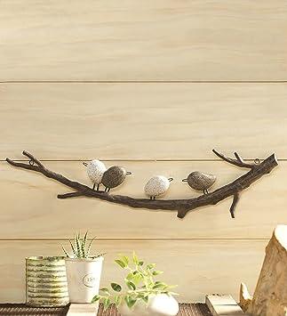 Wind Weather Birds On Branch Indoor Or Outdoor Wall Art Made Of Lightweight Metal 4 Birds