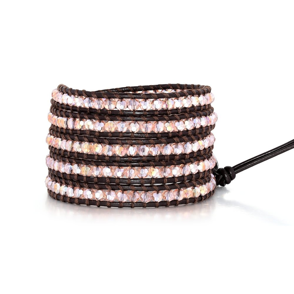Champagne Pink Crystal Rhinestone Bracelets For Women Girls 5 Wrap Bead Adjustable Genuine Leather Bling Bracelet
