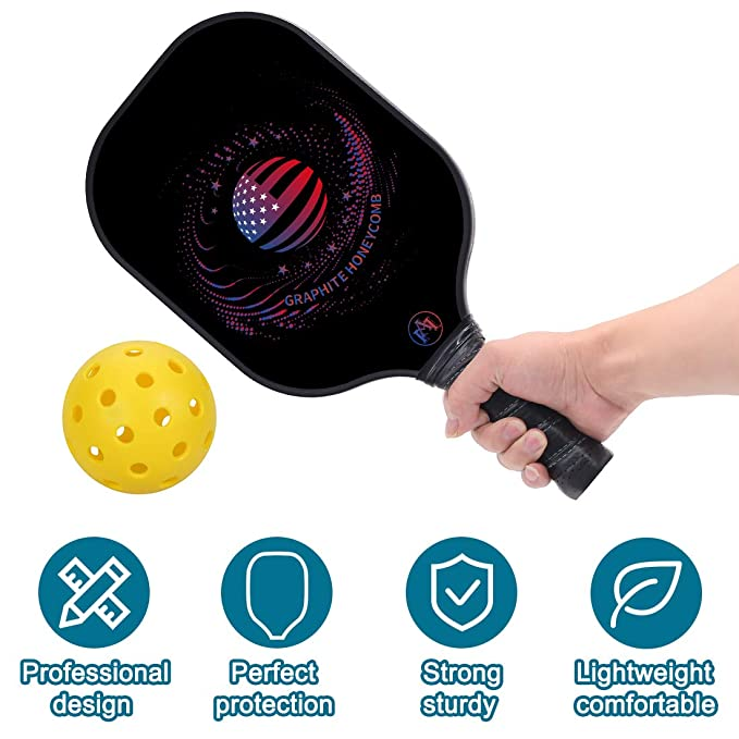 """Y YOOMALL Pickleball Paddle, Graphite Carbon Fiber Surface, Honeycomb Polymer Core, 8oz Midweight 4.25"""" Cushion Comfort Grip, Pickleball Racket with ..."""