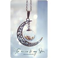 Collana del globo di luna. Pendente della bottiglia di vetro, Luna collana, collana di bronzo, bottiglia mignon, pendente flaconcino di vetro, COLORE PERSONALIZZATO Glitter STELLE.