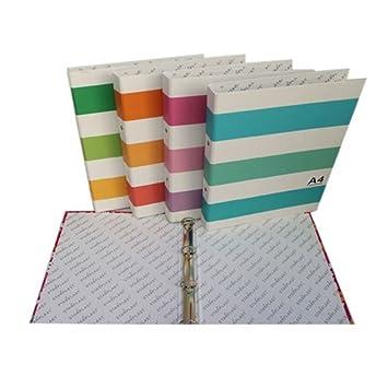 40020 - Set de 2 carpetas archivadores con 4 anillas, diseño de rayas: Amazon.es: Oficina y papelería