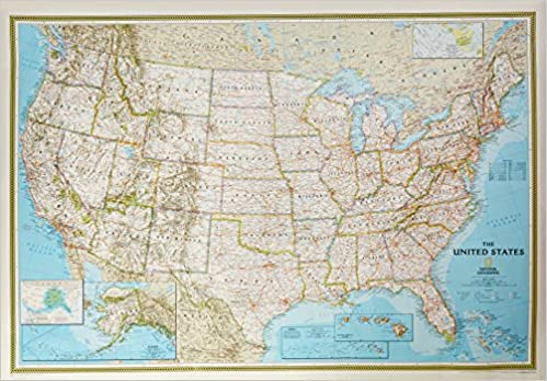 National Geographic United States Political Map: 43 1/2 X 30 1/4 ...