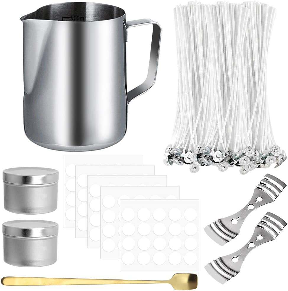 Amazon Com Hicdaw 206pcs Candle Making Kit Diy Candles Craft Tools Included 1pcs Candle Make Pouring Pot 100pcs Candle Wicks 100pcs Candle Wicks Sticker 2pcs 3 Hole Candle Wicks Holder 2pcs Candle Box 1pc Spoon Arts Crafts Sewing