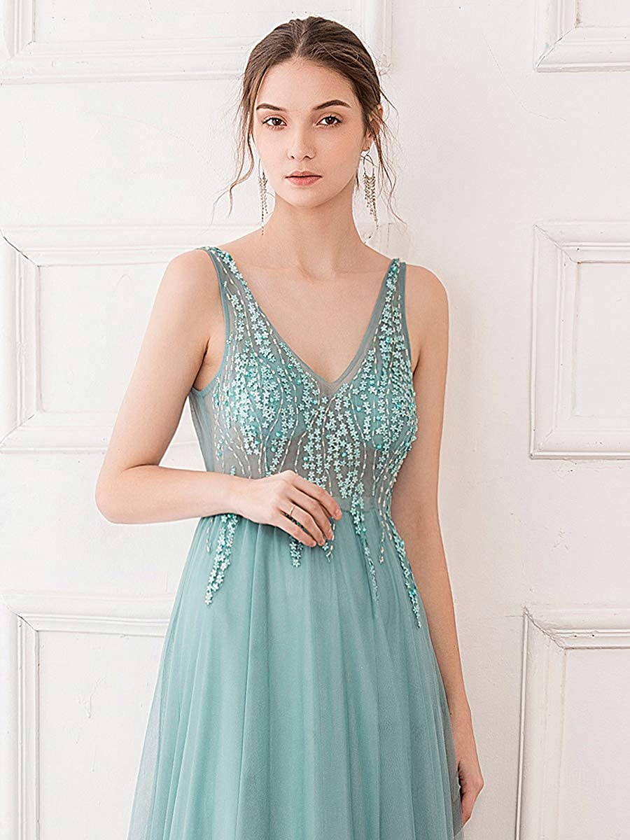 Ever-Pretty Womens V Neck See Through A Line Elegant Long Tulle Prom Dresses 00875