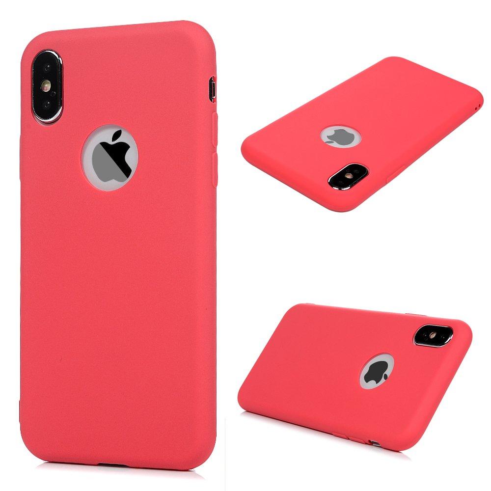 KASOS Coque pour iphone X, Housse Case Bumper Étui Coque de Protection en TPU Soft Silicone Ultra Hybrid Ultra Mince Léger Modèle Dessin Housse -Rose
