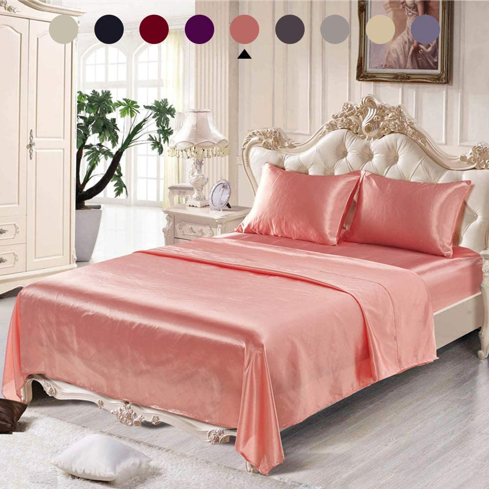 """Chanyuan 4 Pieces Blush Pink Satin Silky Sheets Set Queen Size Luxurious Smooth Silky Bedding Collection Soft Microfiber, 16"""" Deep Pocket Fitted Sheet,Cool Flat Sheet,2 Satin Pillowcases (Pink,Queen)"""